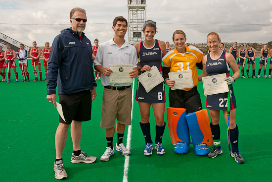 Lauren Crandall, Jaclyn Kintzer, Rachel Dawson and Sean Harris receiving their PAHF Elite Team Certificates from USFHA Executive Director Steve Locke before the match USA vs. Great Britain in Chula Vista, CA (December 18, 2011)