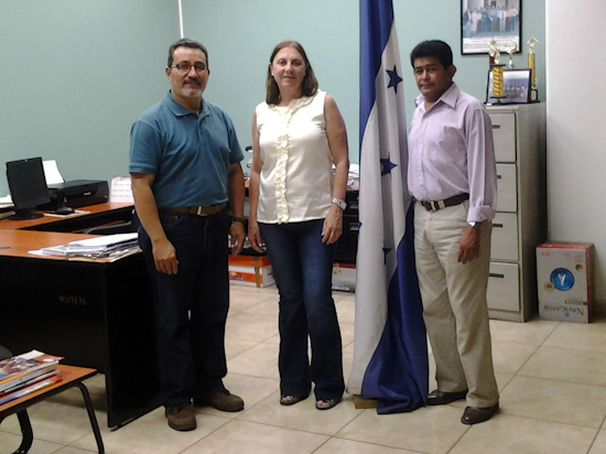Head of the Physical Education Department of Universidad Pedagógica Nacional Francisco Morazán, Mr. Ramón Antonio Vega, Norin Palencia, President of the Honduran Federation of Hockey, Laura Macchiotti , PAHF Events Coordinator
