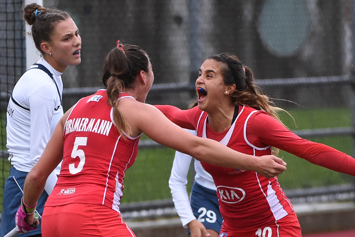 Chilean Denise Krimerman and Manuela Urroz celebrate the winning goal in the World League R2 semi-final vs Uruguay that qualifies Chile for the World League Semi-Final in Johannesburg